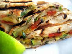 Grilled Veggie Quesadillas. Heavy on the grilled veggies, and not too heavy on the cheese. A delicious and healthy vegetarian lunch or lighter dinner.