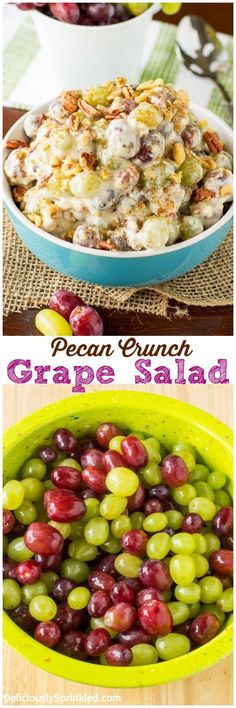 This Pecan Crunch Grape Salad is always a huge hit every time I bring it to a party! And it's super simple to make!