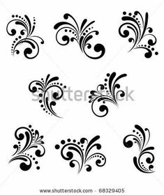 Set of beautiful floral elements isolated on white. Vector version also availabl… Set of beautiful floral elements isolated on white. Vector version also available in gallery Face Painting Designs, Paint Designs, Body Painting, Nail Art Designs, Stencil Designs, Painting Tips, Nail Art Arabesque, Nagellack Design, Scroll Design