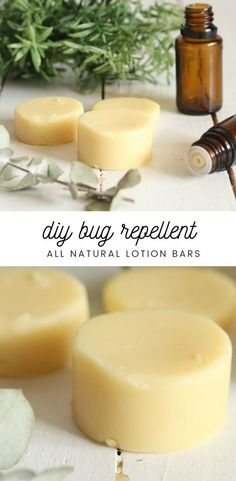 All natural bug repellent lotion bars with essential oils. Safe for kids! Works for mosquitos, gnats, flies, and ticks. #allnatural #bugrepellent #insectrepellent #lotionbars #diy #ouroilyhouse