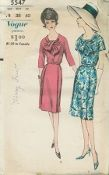 An original ca. 1962 Vogue Pattern 5547.  One piece dress with deep side front released pleats joins bloused bodice at waistline. Buttoned front closing below looped ends. Below elbow length and short sleeves cut in one with shoulder yokes. Self buckled belt.