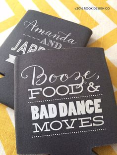 Booze Food and Bad Dance Moves wedding can coolers by RookDesignCo