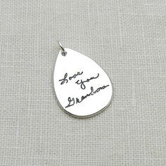 New teardrop pendant by A Timeless Impression. Custom pendant personalized with your ACTUAL handwriting. Personalized Jewelry, Personalized Wedding, Custom Jewelry, Fingerprint Jewelry, Unique Gifts For Women, Memorial Jewelry, Pet Loss, Unique Necklaces, Keepsakes