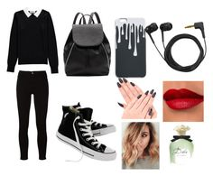 """""""6"""" by ketrin-maknamara ❤ liked on Polyvore featuring Essentiel, Frame, Converse, Witchery, Sennheiser and Dolce&Gabbana"""