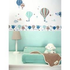 Kinderzimmer Wandsticker Heißluftballons mint/taupe 33-teilig