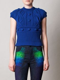 Statement knitwear made a big impact for AW12 and this blue bobble-knit sweater from Carven is a quirky-cool way to work the trend. Team this richly textured piece with bold patterned trousers for an eye-catching cocktail alternative.