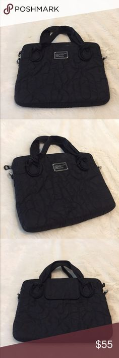 """Black laptop bag by Marc by Marc Jacobs! Great laptop bag for any 13"""" computer or smaller! Super chic and protects your laptop! This bag is in great condition and was only used a handful of times! There's a small dust spot on top of bag from storage but should be able to clean off easily. Note- missing long strap but you easily replace with any black strap. Bag measure 15 inches in width and 11 inches in height. Marc By Marc Jacobs Bags Laptop Bags"""