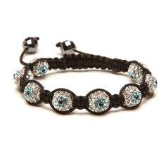 Alexander Kalifano - Shamballa Evil Eye Crystal Bracelet - Clear with Turquoise Eye