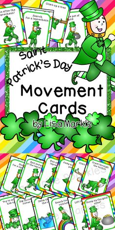 These Saint Patrick's Day themed movement cards will keep your students active while they're excitedly searching for leprechauns! Keep those excited little ones busy around the holidays and when it's too cold to go outside! All while teaching them about different actions and improving their gross motor skills! Print and cut these out, laminate them and keep them all together on a metal ring. Put on some music and let your kids dance!