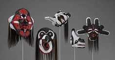 Brian Jungen Prototypes for New Understanding Haida masks constructed from Nike Air Jordens Vancouver Art Gallery, Mask Making, First Nations, Metal Art, Native American, Contemporary Art, Art Pieces, African, Sculpture