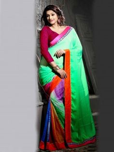 Light Green And Multi Color Chiffon Saree With Print Work