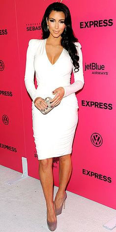 Kim Kardashian - Long-Sleeve V-Neck Dress