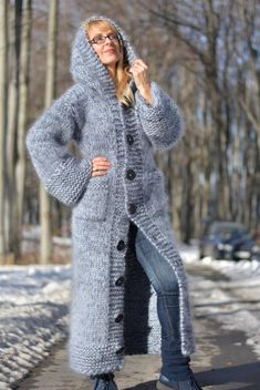 ORDER handmade mohair cardigan hand knitted mohair coat chunky mohair cardigan thick hooded light gray long soft warm with pockets Dukyana - Stricken - Knitting Ideas Gilet Crochet, Crochet Coat, Knitted Coat, Mohair Cardigan, Hooded Cardigan, Sweater Coats, Chunky Knitting Patterns, Hand Knitting, Chunky Wool