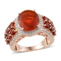 14K Rose Gold Jalisco Fire Opal and Diamond Ring | Liquidation Channel