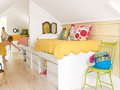 for Annie, this one looks pretty cool and has that personal space for each kid right under the bed!