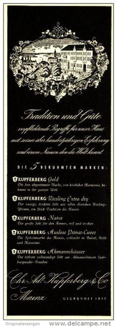 Original-Werbung/ Anzeige 1953 - KUPFERBERG GOLD SEKT - ca. 205 X 70 mm