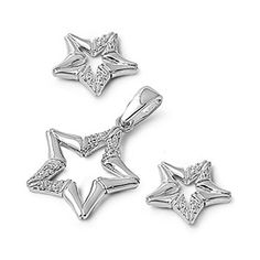 Sterling Silver Outer Space Star Pendant with Star Earrings Jewelry Set ** Check this awesome product by going to the link at the image.(This is an Amazon affiliate link and I receive a commission for the sales)
