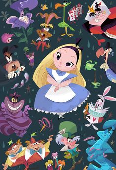 Disney WonderGround Gallery Alice in Wonderland Postcard by Bill Robinson NEW Disney Pixar, Disney Amor, Animation Disney, Cute Disney, Disney Characters, Disneyland, Alice In Wonderland Characters, Chesire Cat, Disney Kunst