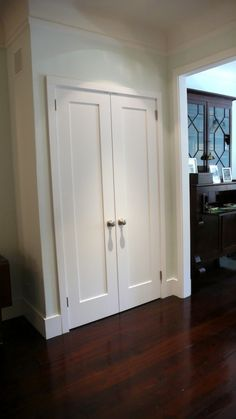 Shaker doors– would be easy to dress up doors like this.