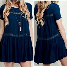 "Detail Tunic Dress Super cute navy blue short sleeve tunic dress. Woven detail, sheer navy with panels. 95% polyester 5% spandex. Retail brand new but with no tags. Size small. Bust is 34"". Length from shoulder seam down is 31.5"". Boutique Dresses Mini"