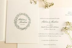 Faire-part couronne d'olivier chic • Papeterie mariage L'Atelier d'Elsa Elsa, Marie, Place Cards, Place Card Holders, Wedding, Chic, Olive Wreath, Wedding Stationery, Quirky Wedding