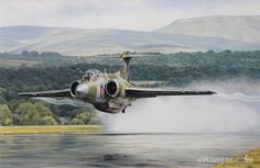 "Aviation art - ""A New Lease of Life"" by Robert Tomlin.    A Blackburn Buccaneer S.2B departing BAe Woodford, Cheshire, after the late 1980s Avionics Update Programme, ASR1012.    Despite having a basic design that dated from the 1950s, the 'Bucc' went on to provide years of valuable service, culminating in the provision of laser-guided weapon target designation and delivery during the 1991 Gulf war."