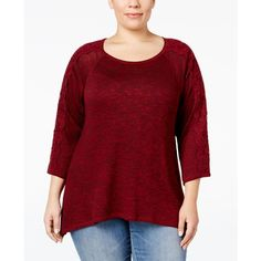 0c64e35f6ac9f Plus Size Lace-Sleeve High-Low Sweater