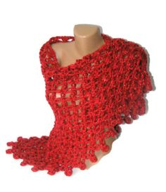 women handcrocheted shawl red shawl super bulky yarn by seno, $75.00