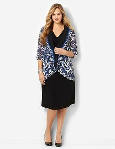 A silky sheer jacket in a beautiful damask print layers over a flattering solid dress for ultimate style. Stretchy V-neck dress has a cinched waist that cascades gracefully from the center. Complementary jacket has a solid color trim down the openfront that leads to an asymmetrical hem. Complete with three-quarter sleeves. catherines.com  -  dress with jacket.  church?      lj