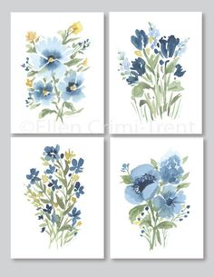 Blue Meadow watercolor flowers/ Botanical wall art/ Watercolor wall decor/ Blue watercolor flowers/ gifts for her/ blue flowers - Blue Meadow watercolor flowers/ watercolor wall art/ Watercolor wall decor/ Blue watercolor flowers - Art Floral, Mural Floral, Watercolor Walls, Watercolor Flowers, Watercolor Paintings, Watercolor Portraits, Watercolor Landscape, Abstract Paintings, Flower Wall