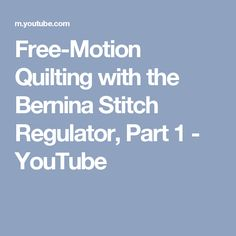 Free-motion quilting can be challenging, but using a Bernina Stitch Regulator helps keep stitches consistent and even. Learn how to use the regulator in Mode. Bernina Embroidery Machine, Machine Quilting Patterns, Bernina 580, Modern Quilting Designs, Applique Tutorial, Free Motion Quilting, Longarm Quilting, Hand Quilting, Quilt Stitching