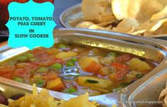Potato, Peas, Tomato Curry In Slow Cooker