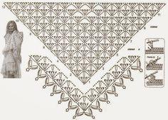 Patrones de mantón / chal tejido al crochet con diseño triangular