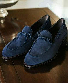 Handmade Men's Navy Blue Slip On shoes, Fashion Bow Style Luxury Leather shoes - Dress/Formal Blue Loafers, Tassel Loafers, Blue Shoes, New Shoes, Slip On Shoes, Loafers Men, Men's Shoes, Shoes Men, Men's Dress Shoes