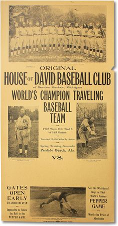 The House of David was an apocalyptic cult that formed a commune community which focused on clean, hirsute living, celibacy, and most memorably their minor league baseball team. Baseball Party, Baseball Teams, Baseball Posters, Baseball Quotes, Baseball Stuff, Negro League Baseball, Minor League Baseball, Amangiri Resort, House Of David