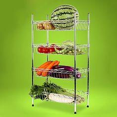 Racks, prata metal reforçado de 4 camadas de frutas e vegetais em rack – BRL R$ 224,75
