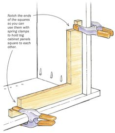 Clamping squares aren't a new idea, but this is my favorite design for them. When I'm assembling a cabinet, I use these simple plywood braces and spring clamps to ensure …