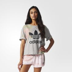 adidas Playera Originals Roses Logo Mujer - Grey | adidas Mexico