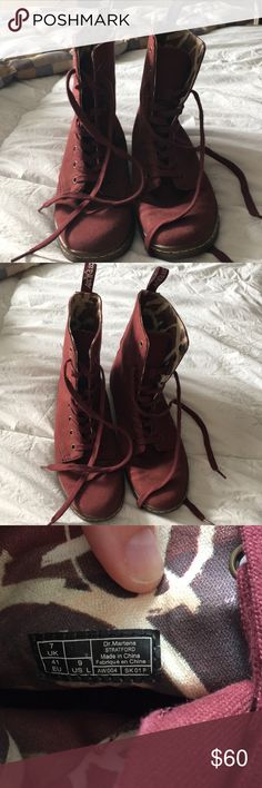 Dr. Martens boots Dr. Martens burgundy canvas material boots. Only worn maybe five times so I've decided to part with them. Very comfortable and stylish shoe. Great condition Dr. Martens Shoes Combat & Moto Boots