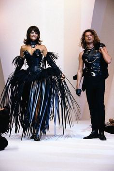 The one & only Super Model Helena & the Rock Star Michael! Rocking it in Leather  for Thierry Mugler