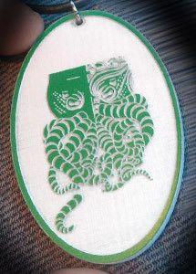 Tiki-thulhu Cameo Logo Pendant - Green on White Acrylic