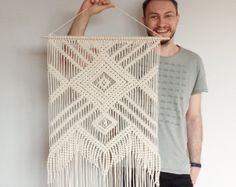 Large macrame wall hanging 'NECKLACE' geometric by MOXmacrame
