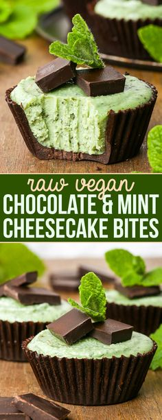 Desserts Recipes Chocolate & Mint Raw Vegan Cheesecake Bites {gluten, dairy, egg, soy & refined s. Mint Chocolate Cheesecake, Raw Vegan Cheesecake, Menta Chocolate, Mint Cheesecake, Cheesecake Bites, Vegan Chocolate, Chocolate Recipes, Chocolate Cups, Dessert Chocolate