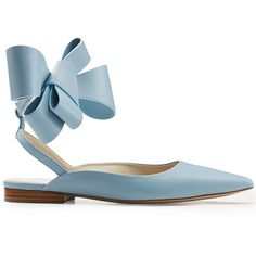 Delpozo Leather Bow Ballerinas (£455) ❤ liked on Polyvore featuring shoes, flats, ballet flats, ballerina flats, leather ballet shoes, bow ballerina flats and pointed shoes