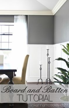 Board and batten in the dining room - Benjamin Moore Kendall Charcoal Living Room Grey, Formal Living Rooms, Home And Living, Tutorial Paint, Dining Room Walls, Room Chairs, Board And Batten, Small Dining, Decoration