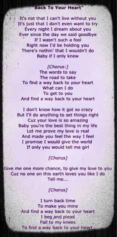 Backstreet Boys - Back To Your Heart Ps. Motto Quotes, New Quotes, Lyric Quotes, Family Quotes, Cant Live Without You, Living Without You, Backstreet Boys Lyrics, Christian Women Blogs
