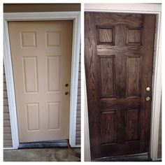 Before and after of my fiberglass garage door I didn't even use a whole 1/2 pint container of the #javagelstain #generalfinishes it turned out looking just like a wood door! Super pleased with my first time using this product!!