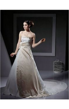 A-line Strapless Neckline Chapel Train Satin Wedding Dress