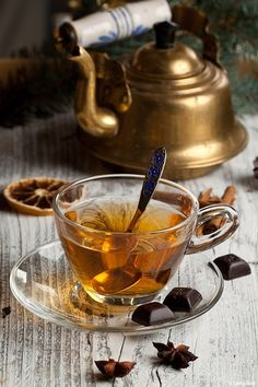 Spicy green tea with chocolate.