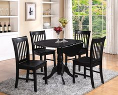 5PC SET ROUND DINETTE KITCHEN DINING TABLE with 4 WOOD